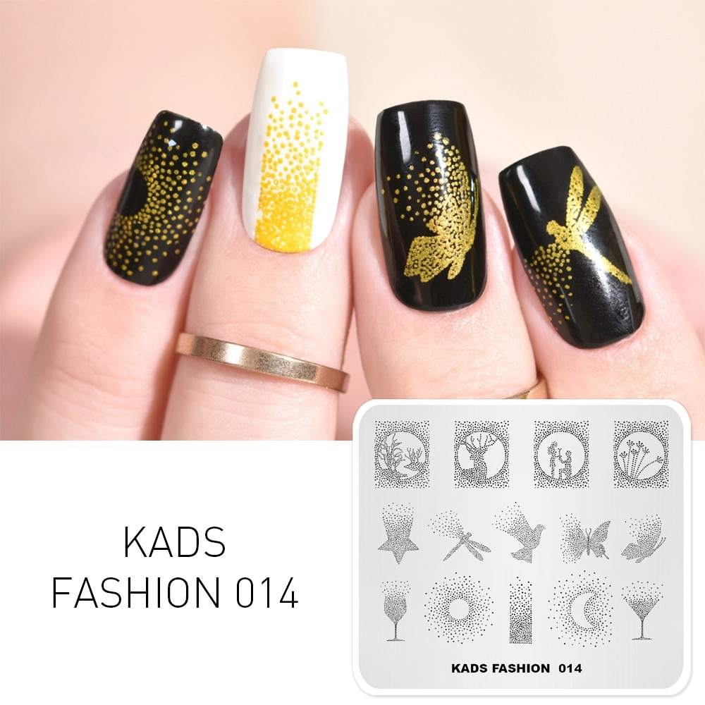 KADS אופנה 014 אמנות Stamping מניקור Stamping תבנית תמונת בול נייל צלחות צלחת הדפסת סטנסיל כלי מכירה לוהטת