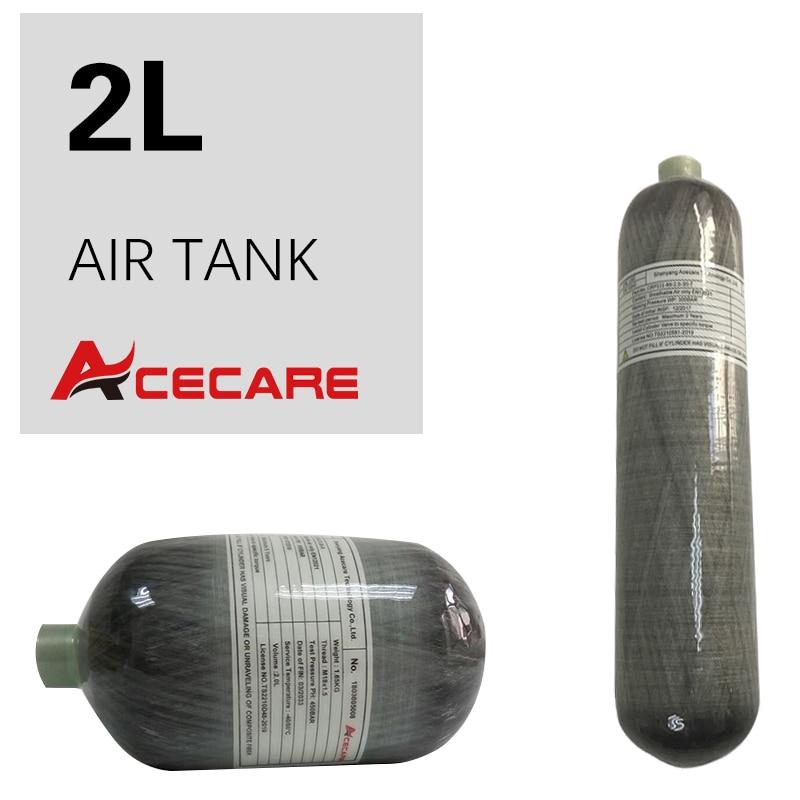 Acecare 2L Mini Scuba Tank Paintball Tank Hpa Carbon Fiber Cylinder 4500Psi Pcp Air Rifle/Air Condor Diving/Hunting Airgun
