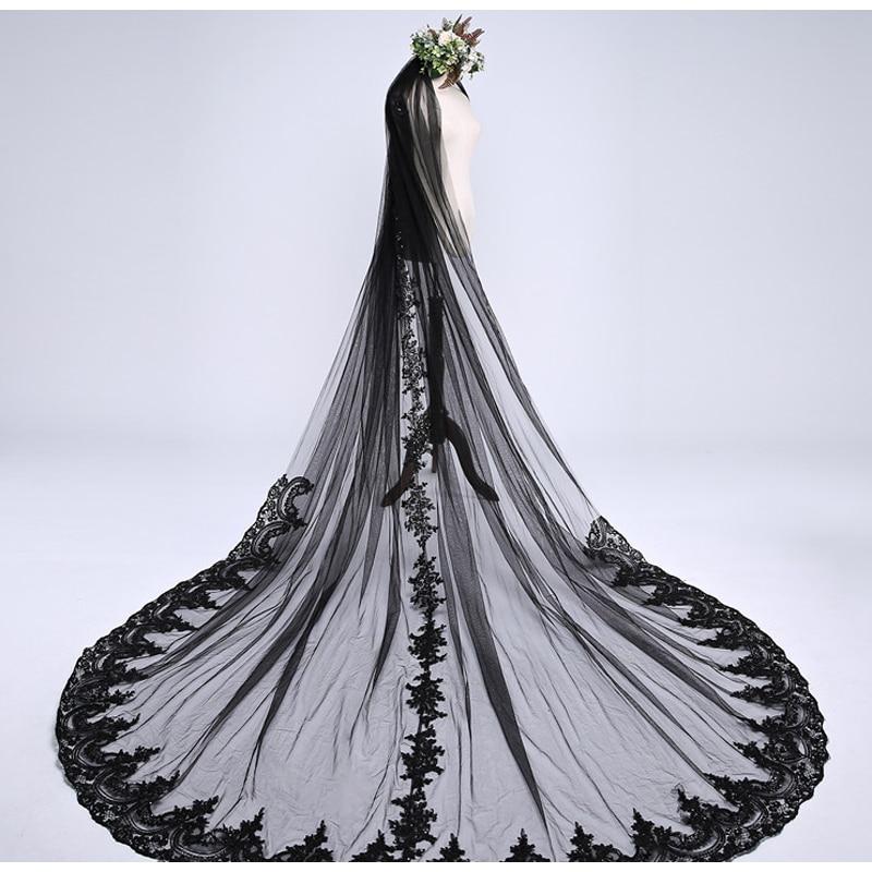 3m * 3m طويل أسود الزفاف الحجاب مع مشط لينة تول مع الزهور زين الزفاف اكسسوارات الزفاف الحجاب