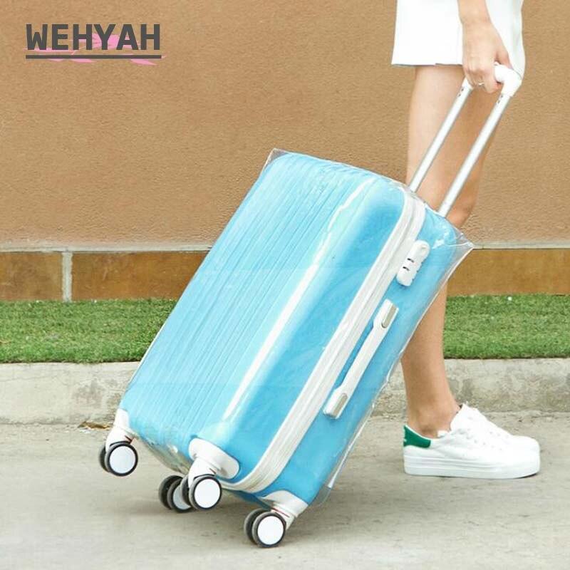Wehyah capa para mala de viagem, capa transparente de pvc à prova dágua 24 acessórios de viagem capa protetora à prova de poeira zy135