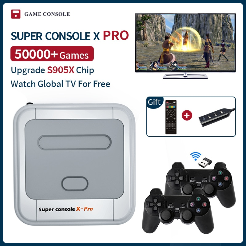 Super Console X Pro Mini/TV Video Game Consoles WIFI HD Output For PSP/N64/DC/PS1 Games For Xbox Gamepad Built-in 50000+Games