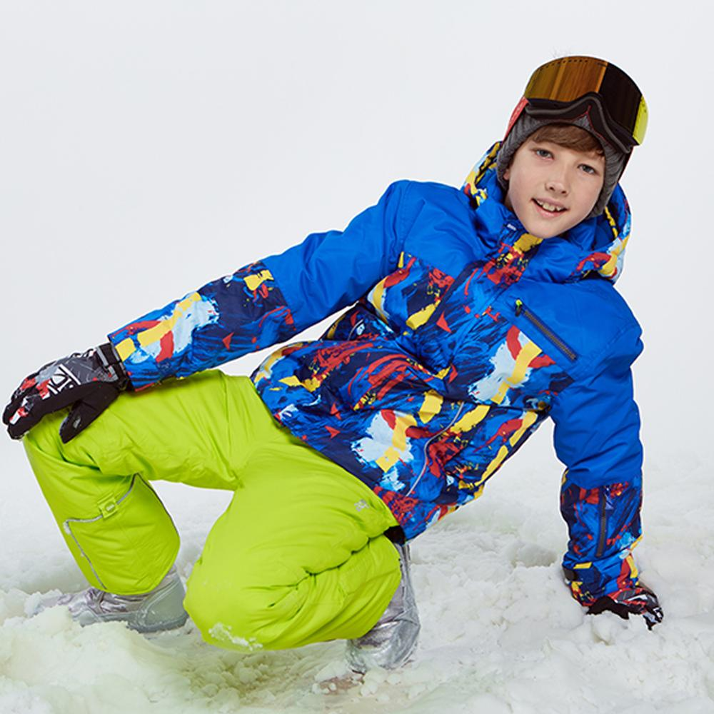 Garçons Ski costumes enfants imperméable veste de Ski pantalons de neige thermique enfants Ski costumes hiver en plein air à capuche ensemble de costumes
