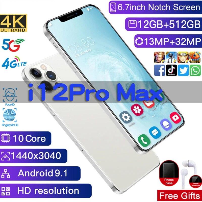 Versão global i12pro telefone máximo 5800mah 4g/5g telefone móvel android 10.0 gps 6.7 polegadas hd + 1440*3088 12gb + 512gb telefone inteligente