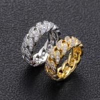 gold silver plated hip hop rings iced out micro pave cz 8mm width cuban chain ring for men and woman charm jewelry gift