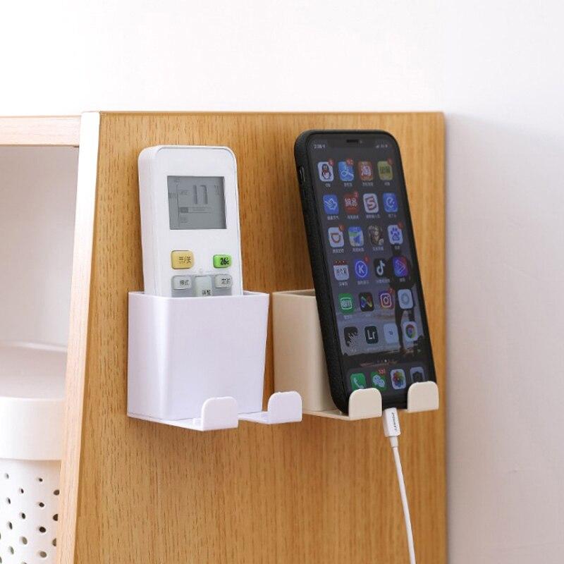 1 pçs telefone suporte de parede smartphone pendurado rack de armazenamento de parede do telefone móvel suporte de carregamento titular de controle remoto