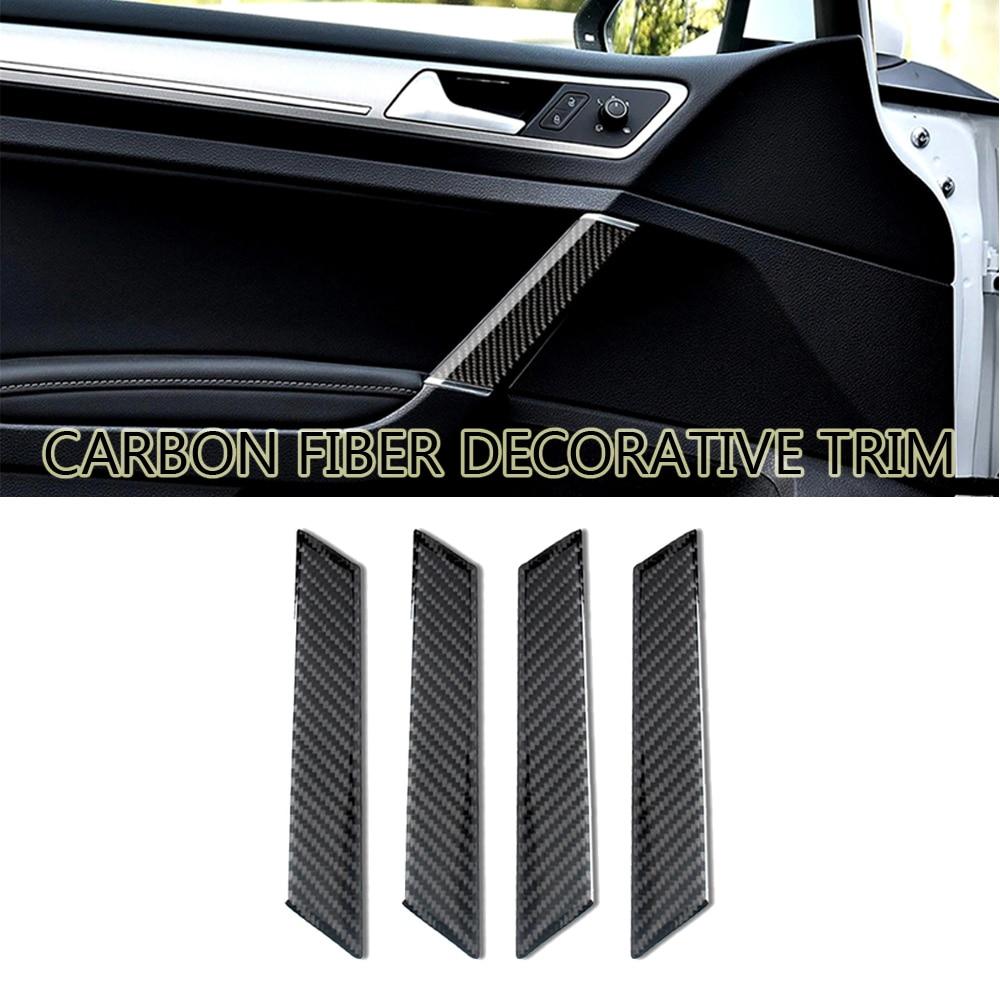 4Pcs Carbon Fiber Decoration Real Carbon Door Handles Decoration Stickers Suitable For Volkswagen VW Golf 7 GTI MK7 2013-2019