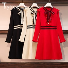 Trytree 2020 yaz sonbahar kadın rahat fırfır elbise zarif yay Patchwork 3 renk A-line gevşek moda ofis bayan Mini elbise
