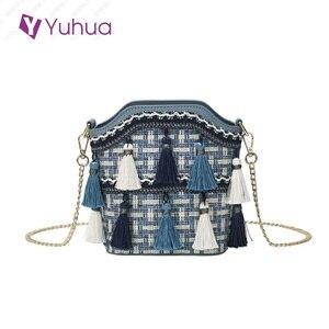 Yuhua, 2020 new fashion casual handbags, tassel korean version shoulder bag, trend woman bucket bag, vintage women messenger bag