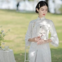 restoring ancient ways chun xia thin white jacquard down big sleeve plate buckles grace everyday young chinese dress