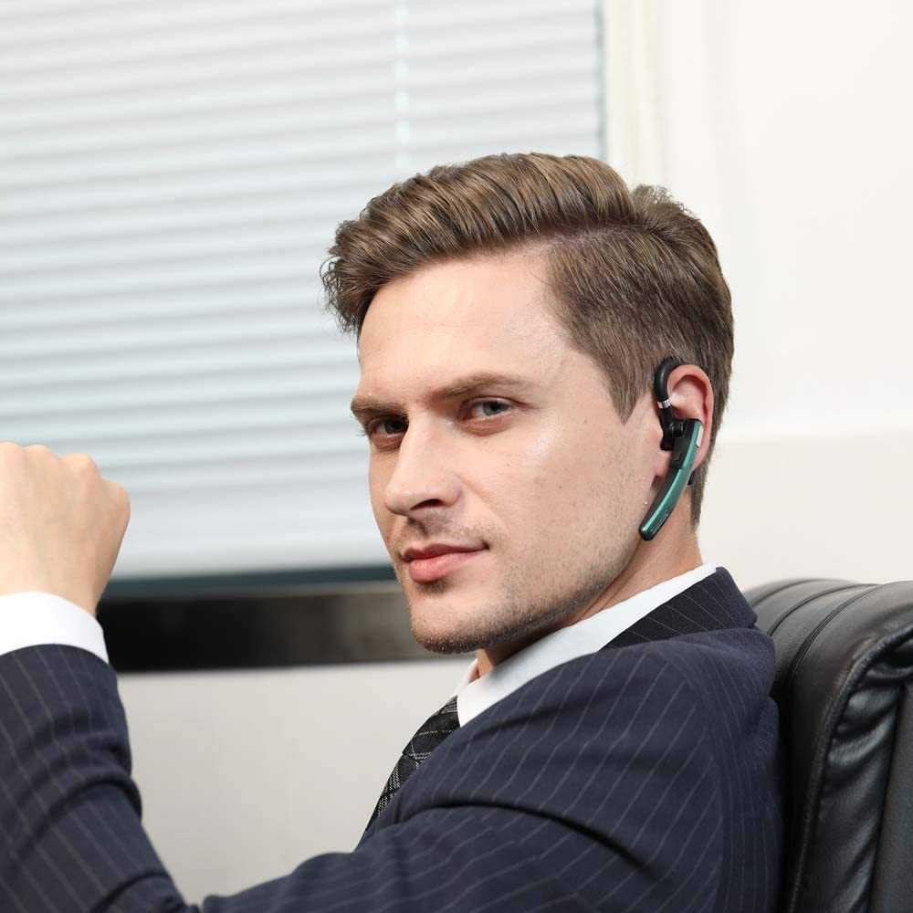 Bluetooth Headset Wireless Bluetooth Earpiece V5.0 Hands-Free Earphones with Noise Cancellation Mic for/Business/Office Drive enlarge