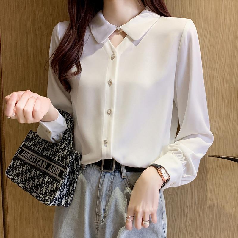 Coigarsam camisa de manga completa das mulheres topos nova primavera chiffon solto camisas femininas jasmim branco 8268