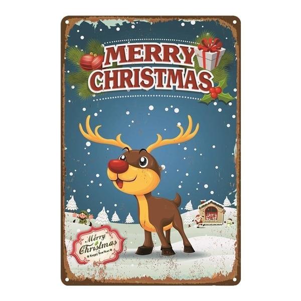 Cartel de hojalata Vintage, cartel de hojalata de Feliz Navidad, 8x12 pulgadas,...