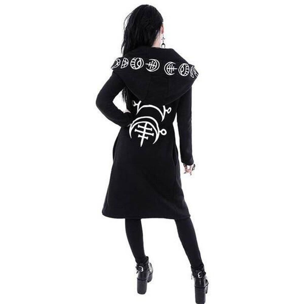Capucha de manga larga sudaderas de mujer gótico Punk Luna impresión 2019 otoño negro chaqueta con cremallera abrigo Casual manteau femme 10,7