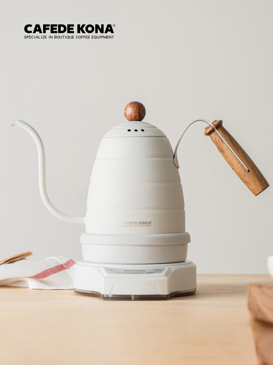 CAFEDEKONA-غلاية كهربائية 220 فولت ، مؤقت تسخين القهوة ، مؤقت 0.7 لتر ، تحكم في درجة الحرارة المتغيرة ، صب صنبور