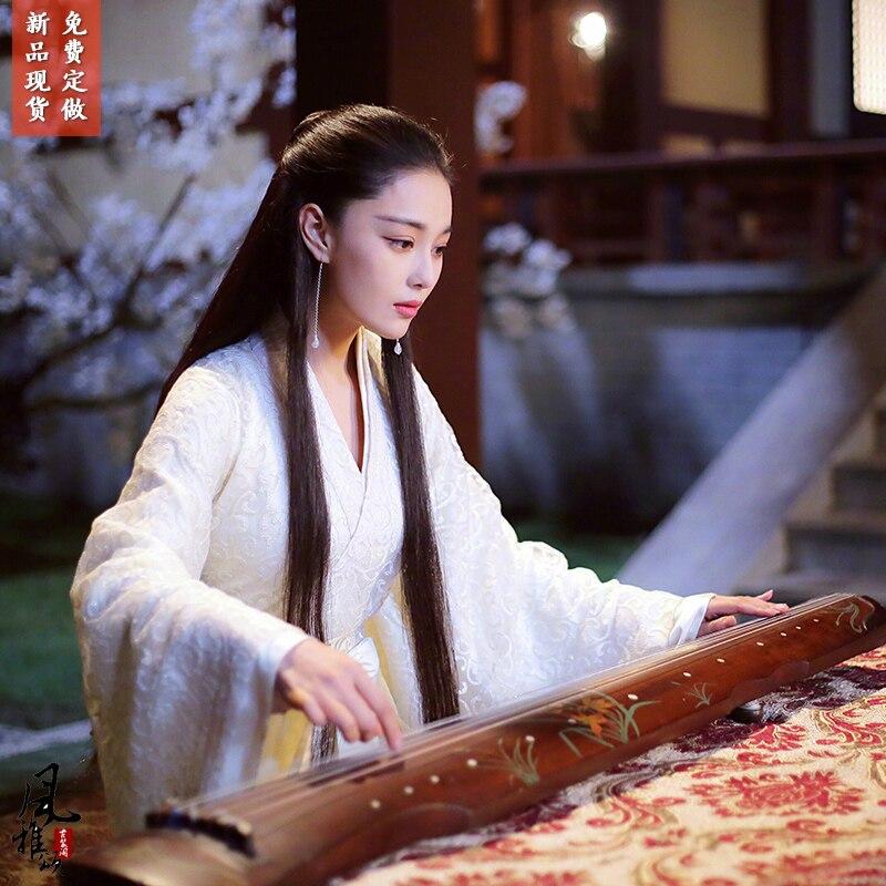 تشانغ XunYu الأبيض البيج الجنية الأميرة زي السيوف المرحلة الأداء Hanfu للدراما مو تشو فستان أغنية Phonenix