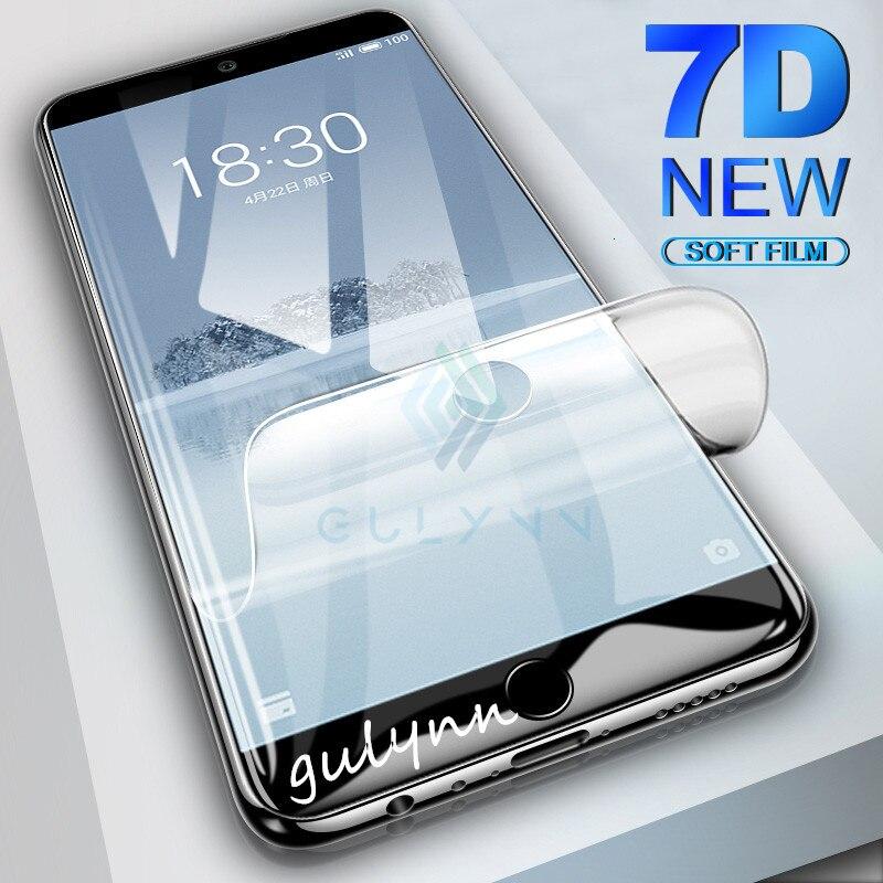 Cubierta completa de borde curvado Real 7D película de hidrogel suave para Meizu Pro 7 Pro7 7Plus 16X15 Lite 16 Plus Protector de pantalla