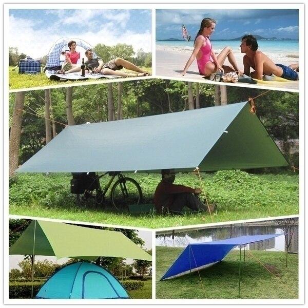 Tienda al aire libre toldo sol sombra abrigo de lluvia playa Camping Picnic almohadilla a prueba de humedad estera de supervivencia refugio viento romper lluvia mosca