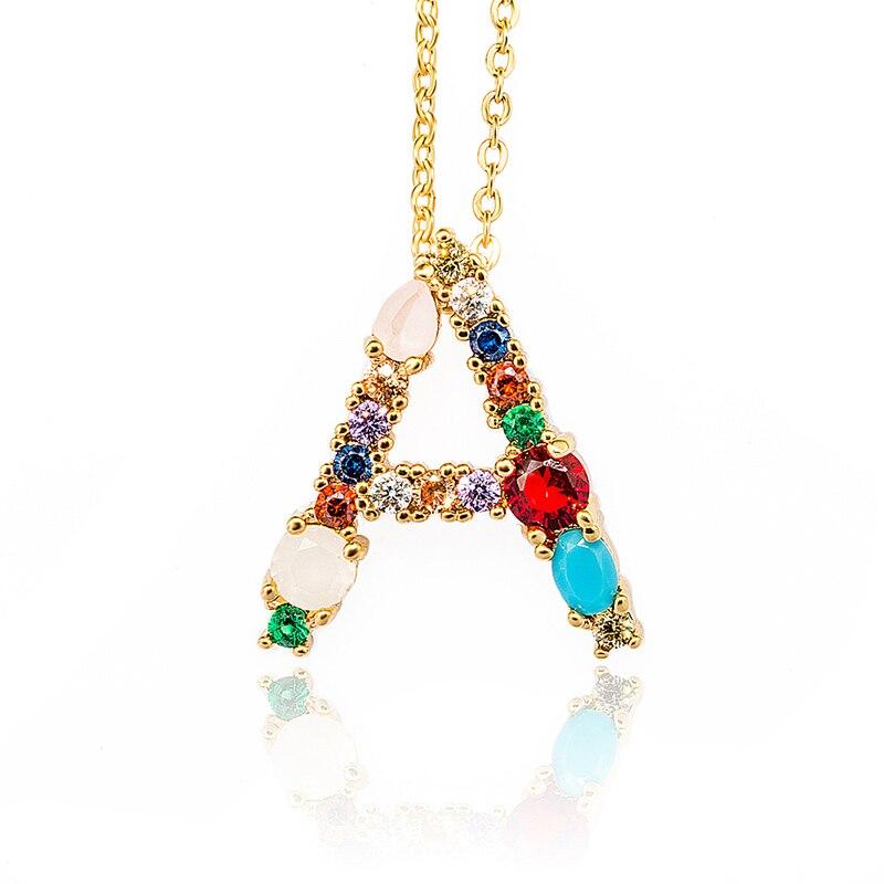 Золотистое Оригинальное разноцветное ожерелье с фианитами, разноцветное ожерелье с буквенным принтом, ювелирные изделия для женщин, аксессуары, подарок подруге