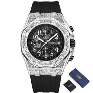 Diamond Black Sport Watch Men Chronograph Hip Hop Military Mens Watches Top Brand Luxury Gold Clock Relogio Montre Reloj Hombre
