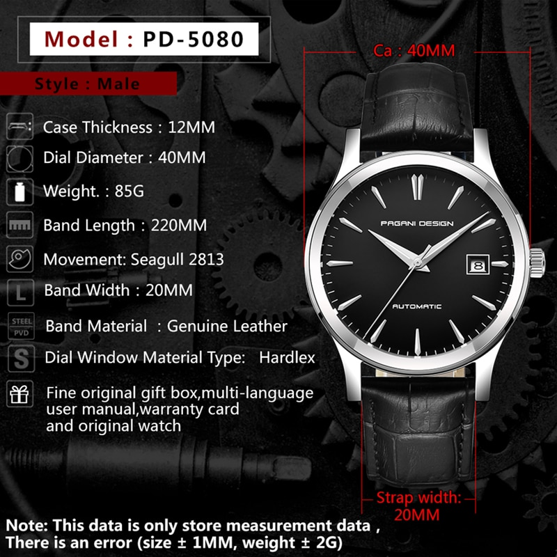 2021 new Ultra-thin simple classic men mechanical watches business waterproof watch luxury brand genuine leather automatic watch enlarge