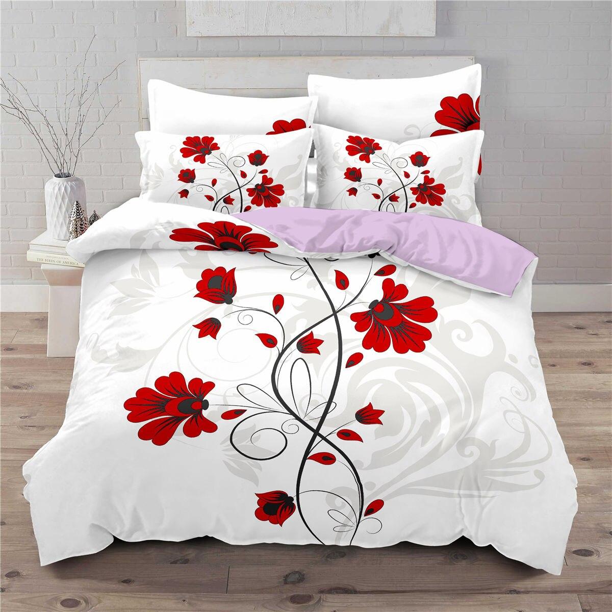 أبيض ثلاثية الأبعاد طقم سرير مطبوع زهرة نمط حاف الغطاء المخدة واحدة التوأم الملك سوبر لينة Seasons المنسوجات المنزلية