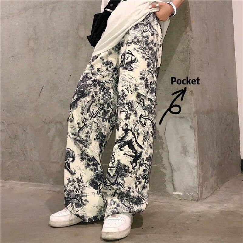 Vintage Pants for Women Korean Style Wide Leg Pants Women High Waist Cargo Pants Ink Painting Print Harajuku Graffiti Pants