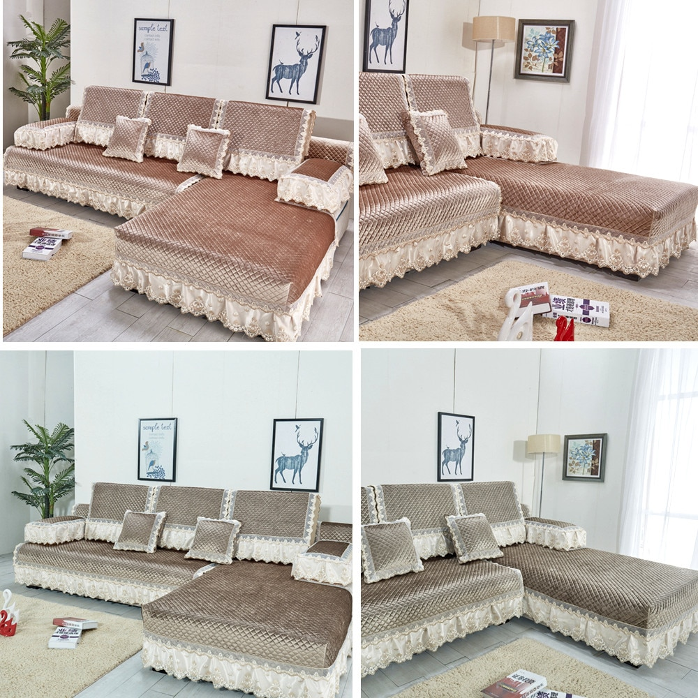 Fundas de sofá de gamuza gruesa europea para sala de estar funda de sofá cómoda de alta calidad funda de cojín de respaldo conjunto de sofá funda reclinable