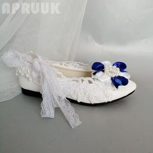Blue white flower flats shoes woman handmade plus size 41 42 bridal bridesmaid party wedding lace-up straps flats shoes womens