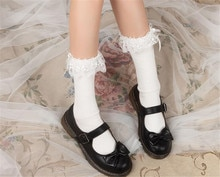 Anime Cosplay Lolita Maid Girls Lace Top Socks with pearl Warmer Leggings Sexy Cotton Stocking B736