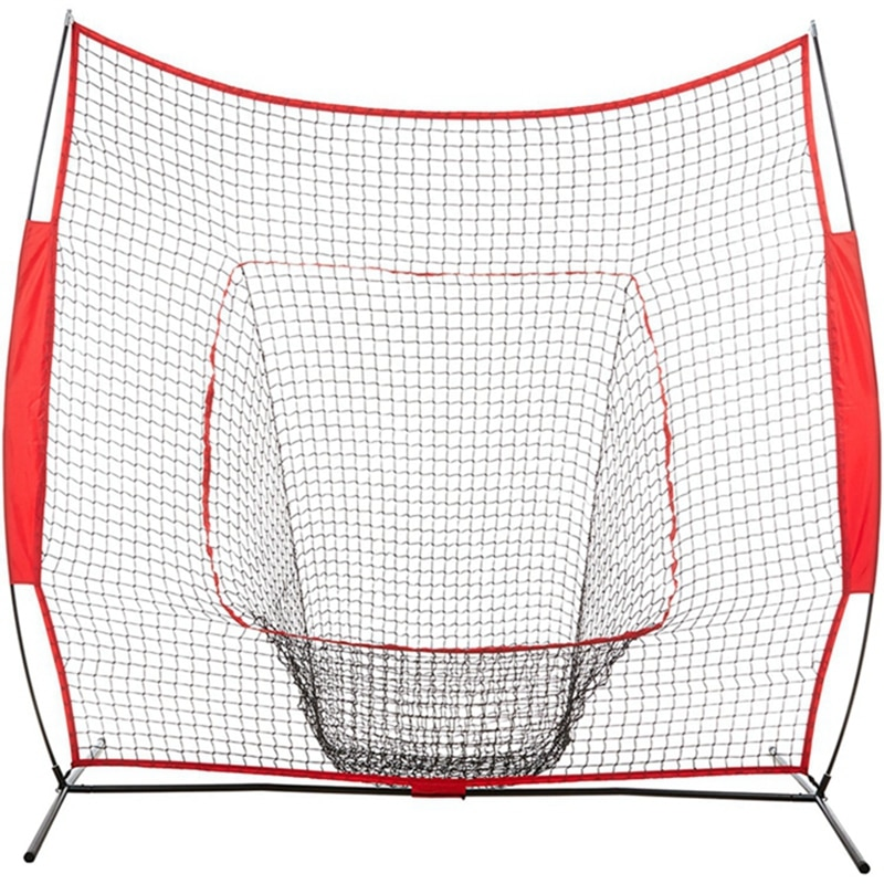 7' X 7' Baseball & Football Practice Net Set With Travel Hitting Pitching Batting & Fielding Practice | Collapsible And Portable