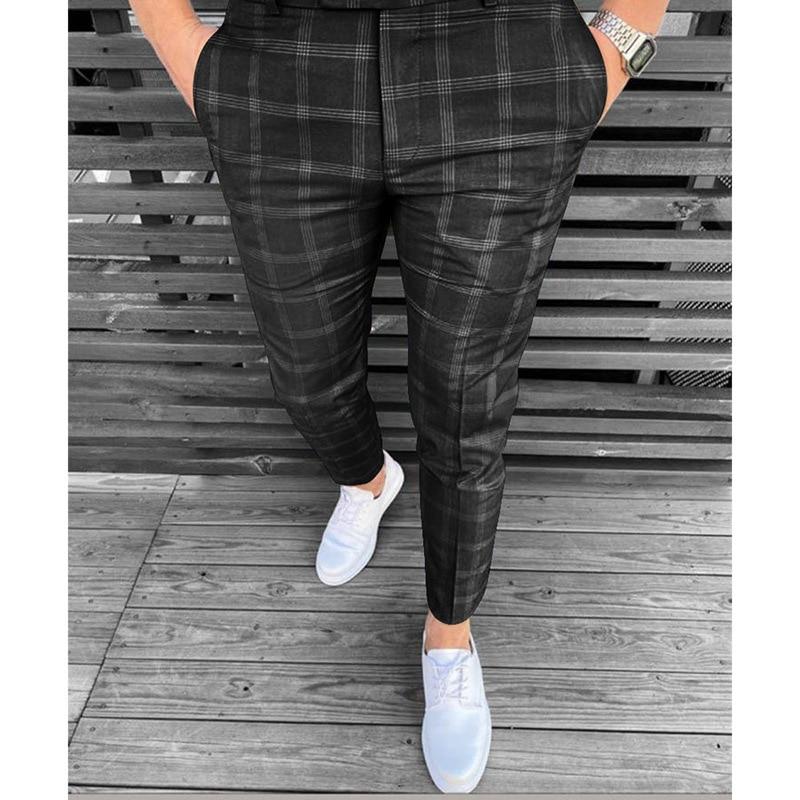 Мужские брюки, осень 2021, маленькие клетчатые полосатые новые деловые повседневные брюки, брюки, мужские облегающие трендовые брюки, Костюмн...