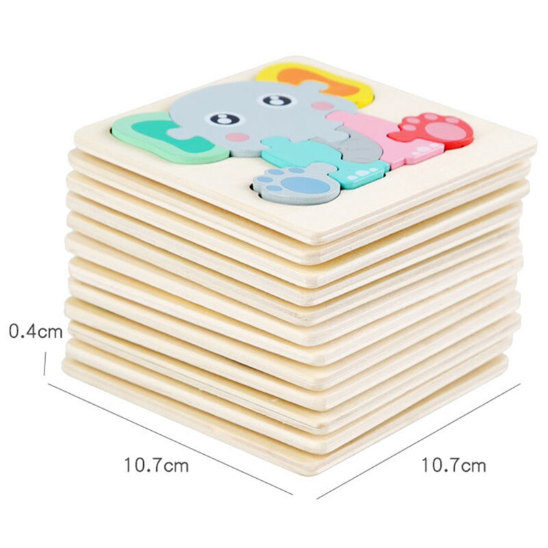 3D Wooden Puzzles Toys Cartoon Animals Kids Cognitive Jigsaw Puzzle Wooden Toy for Children Baby Puzzle Toy Games Christmas Gift