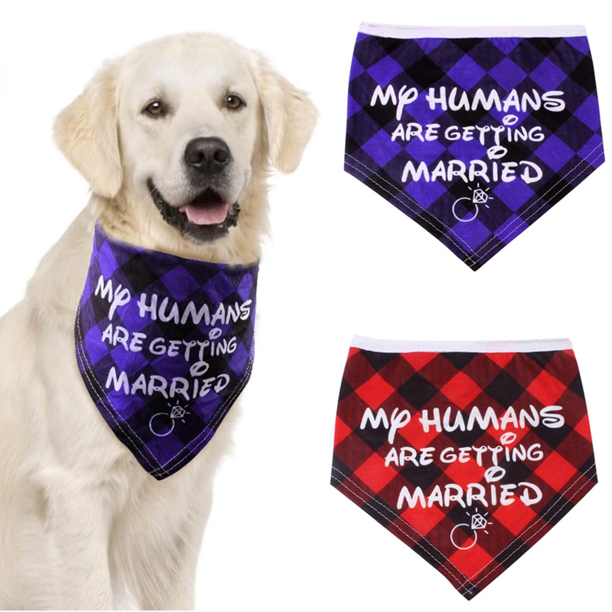 2 unids/lote casando perro Bandana tartán boda Baberos cuello ajustable perro tartán bufanda para perros pequeños medianos grandes