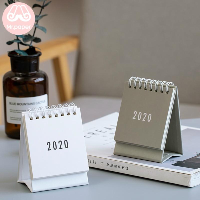 Mr Papel 2020 Minimalista Preto Branco Cinzento Mini Desktop Calendários De Papel Mesa Planejador Diário Planejador Agenda Anual Calendários
