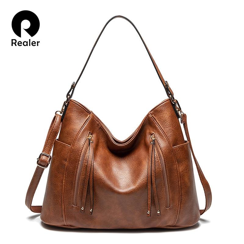 Realer women's bag handbags women fashion tote bags high quality PU leather shoulder bags ladies zipper Messenger bag