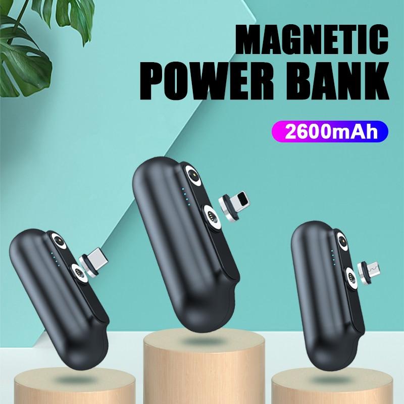 Magnetische Power Bank 2600Mah Mini Magneet Charger Poverbank Voor IPhone12 Emergency Draagbare Externe Batterij Powerbank