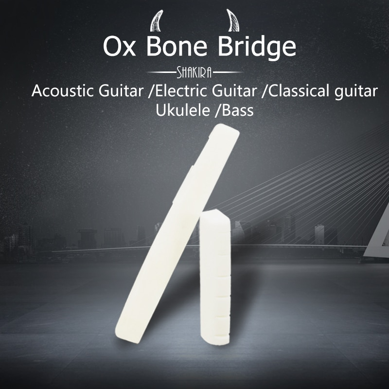 Ponte da guitarra 4 5 6-string headless feito para osso real elétrica ukulele guitarra acústica baixo selas e porca pinos da guitarra prego
