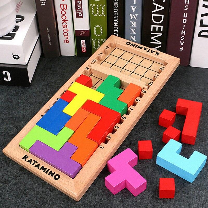 Rompecabezas de Tetris para niños, juguetes de madera, juego de mesa para niños, bloques de bloques, puzles de montaje montessori, juguetes educativos de madera