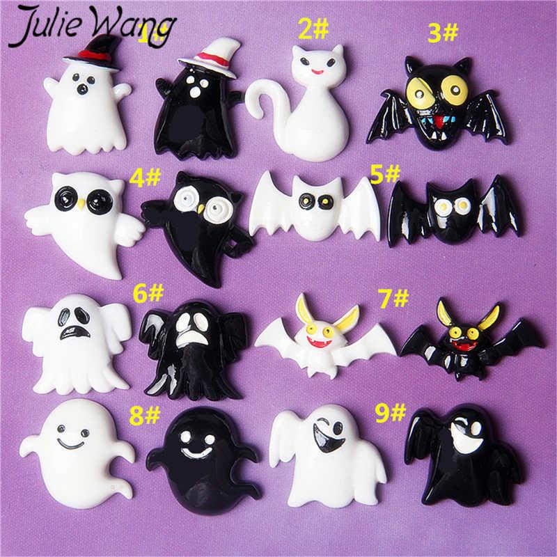 Jule Wang 10 piezas de resina de Halloween dijes al azar mezclado negro blanco fantasma murciélago colgantes joyería fabricación accesorio Decoración de mesa Accesorios