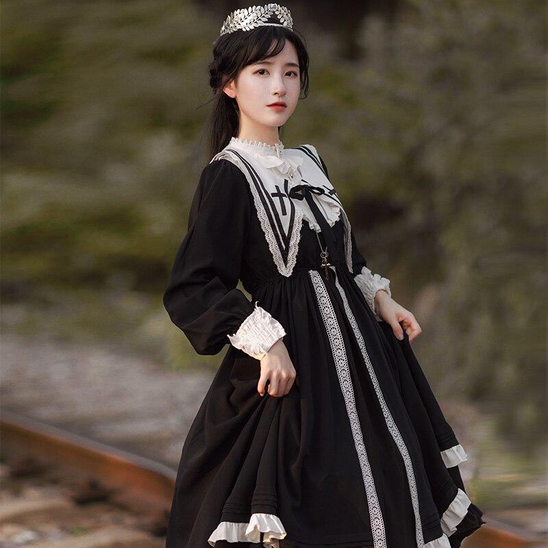 Harajuku japonés negro gótico Lolita vestido chicas monja hermana Anime Cosplay vestido de fiesta