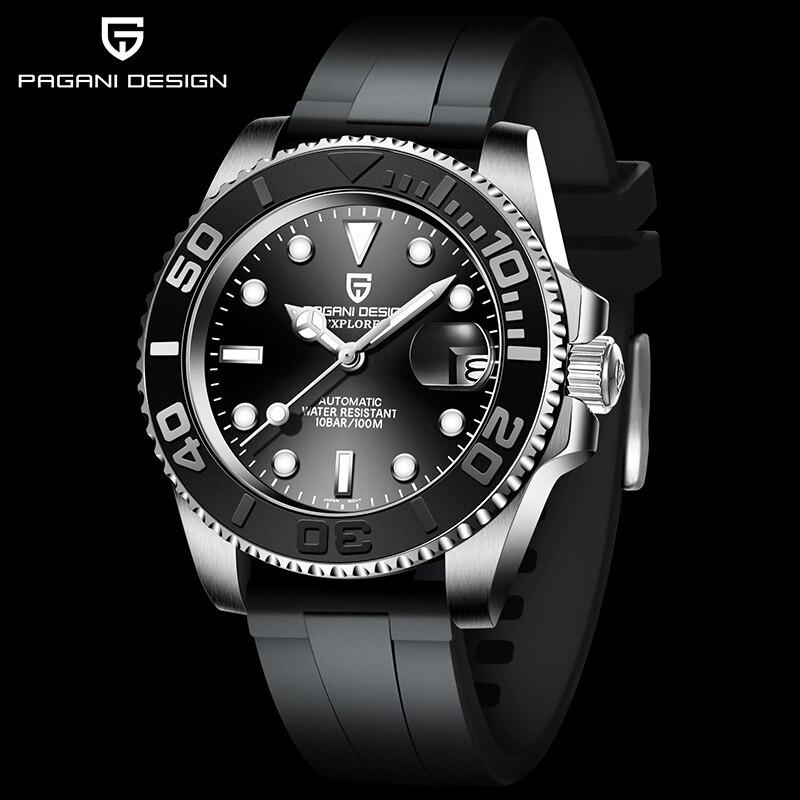 PAGANI DESIGN 40mm Men Watch Rubber strap Luxury Automatic Mechanical Wrist Watch Men 100m Waterproo