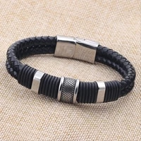 leather braided metal bracelet mens and womens bracelets new fashion accessories party jewelry