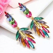 Luxury Colorful Crystal Big Earrings For Women 2020 Leaf Waterdrop Statement Earrings Large Rhinestone Earings Party Jewelry