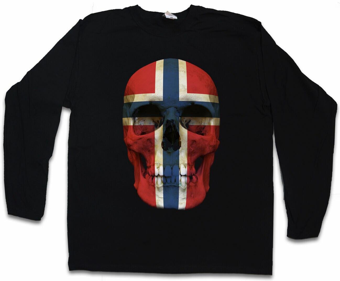 Фото - CLASSIC NORWAY SKULL FLAG LONG SLEEVE Men T-SHIRT Norwegen widar aspeli schneesturm norwegen krimi