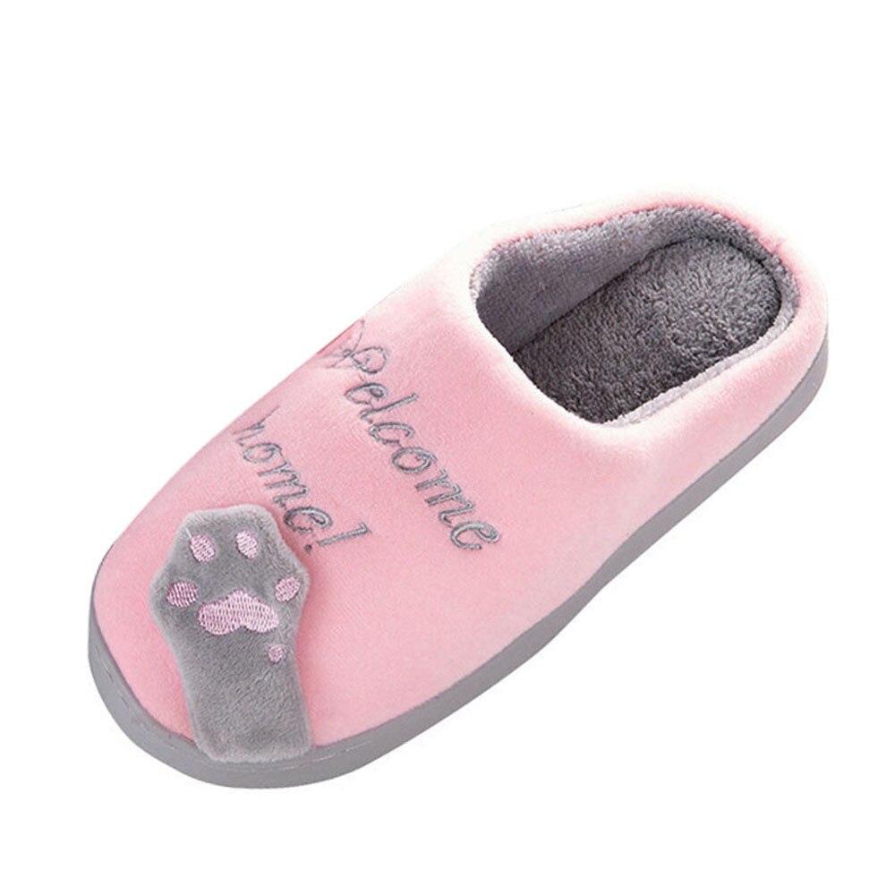 SAGACE Women Winter Home Slippers Cartoon Cat Non-slip Warm Indoors Bedroom Floor Shoes Plush Slippers Women Faux Fur Slides new