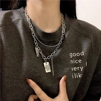 girafe vintage multi layer chain choker necklace silver color fashion portrait chunky chain necklaces jewelry for women