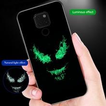 ciciber for Huawei P30 P20 Mate 20 Lite Pro Phone Cases for Honor 10 Lite Marvel Venom Batman Luminous Tempered Glass Cover Capa