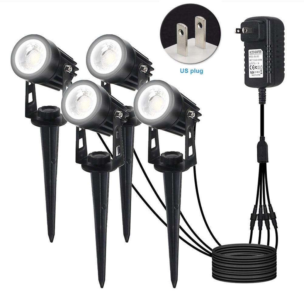 4 en 1, eléctrico ABS, a prueba de polvo, reflector giratorio, lámpara de punta, impermeable para exteriores, decoración de jardín, luz Led COB de bajo voltaje, luz de paisaje