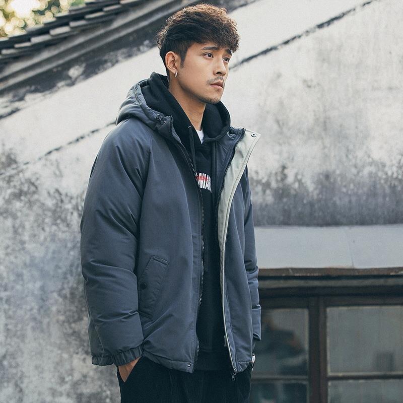Теплая зимняя куртка, мужские парки, мужские однотонные Тренчи на молнии с карманами, хлопковые парки с капюшоном, мужская одежда 2019