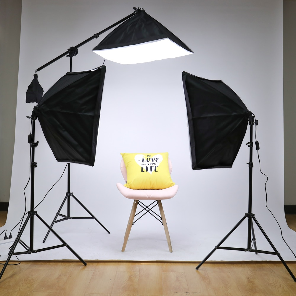 20W Photography Studio Lighting Kit Arm for Video and YouTube Continuous Lighting 50CM*70CM Professional Lighting Set Softbox enlarge
